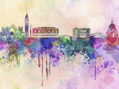 Nálepka Benátky panorama v akvarelu pozadí
