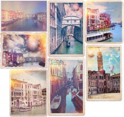 Nálepka Benátky - staromódní pohlednice koláž