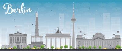 Nálepka Berlín panorama s šedou budovy a modré nebe.