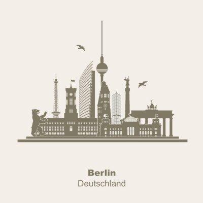 Nálepka Berlín Silhouette Logo Umriss schattenriss Fernseturm funkturm Berliner Bär, prohlídka, Braniborská brána Rotes Rathaus Potzdamer Platz Siegessäule Gedächtniskirche Reichstag