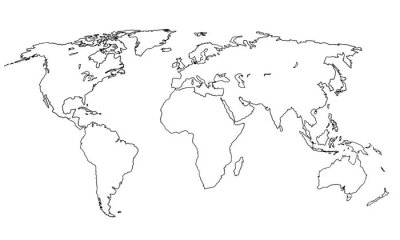 Nálepka Best doodle world map for your design. Hand drawn freehand editable sketch. Planet Earth simple graphic style. Vector line illustration, EPS 10