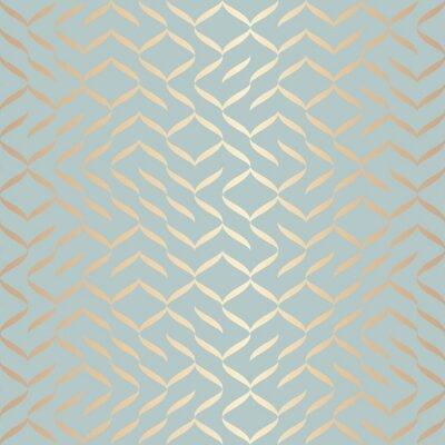 Nálepka Bezešvá vektorová geometrický zlatý prvek vzor. Abstraktní pozadí měděné textury na modré zelené. Jednoduchý minimalistický grafický tisk. Moderní tyrkysová mřížovina. Módní design balicího papíru.