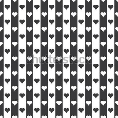 Nálepka Bezešvé černé a bílé srdce a pruhy vzor vektor