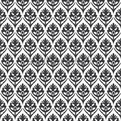 Nálepka Bezešvé černé a bílé vintage květinový ogee středověký vzor vektor