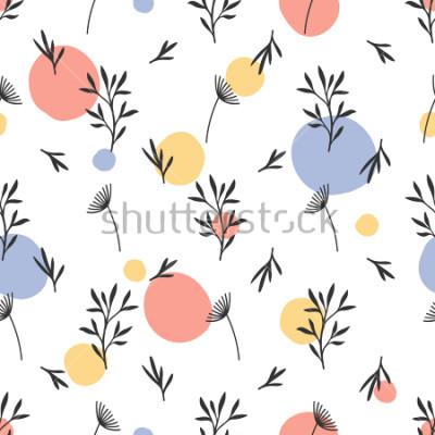 Nálepka Bezešvé květinový vzor. Plochá botanická ozdoba s handdrawn přírodní prvky & tečky. Jednoduché opakující se texturu. Moderní originální textilní, balicí papír, interiérový design. Vektorové víceba