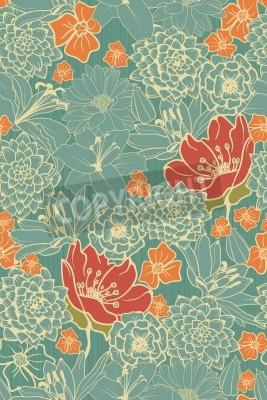 Nálepka Bezešvé květinový vzor s červenými květy na monochromatické pozadí