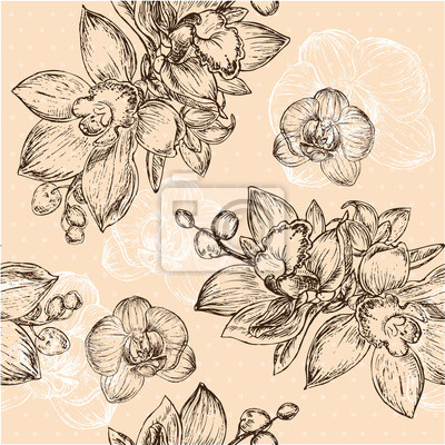 Nálepka Bezešvé květinový vzor s orchidej