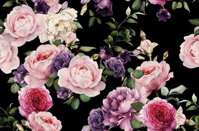 Nálepka Bezešvé květinový vzor s růží, akvarel
