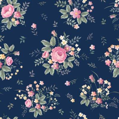 Nálepka bezešvé květinový vzor s růžovou kytici ondark modrém pozadí