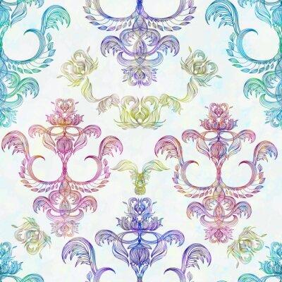 Nálepka Bezešvé květinovým vzorem. Royal tapety. Květiny na růžové pozadí. EPS 10