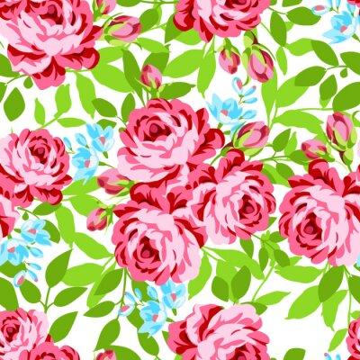 Nálepka Bezešvé květinovým vzorem se zahradou růžových růží