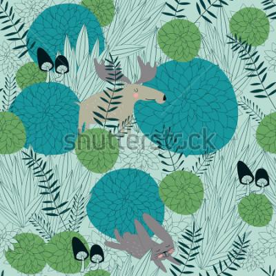 Nálepka Bezešvé lesní pozadí s roztomilé lesní rostliny, losy, zajíce a houby v dívm stylu.