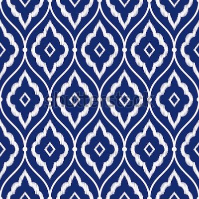 Nálepka Bezešvé porcelán indigo modré a bílé vinobraní perské ikat vzor vektoru
