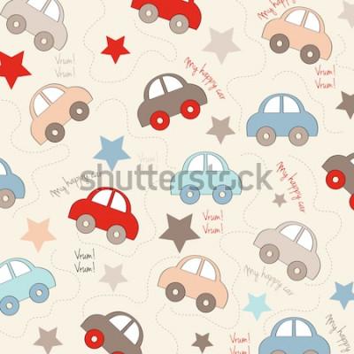 Nálepka bezešvé pozadí s automobily, vektorové ilustrace