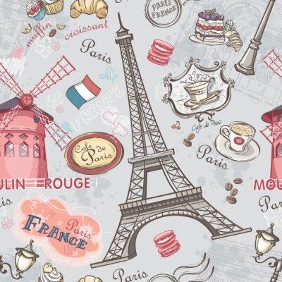 Nálepka Bezešvé textury s obrazem památek v Paříži