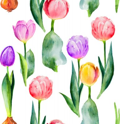 Nálepka bezešvé tulipán vzor na bílém pozadí