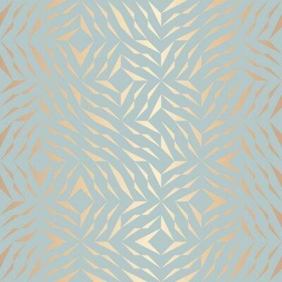 Nálepka Bezešvé vektorové geometrické vzorek zlatých prvků. Abstraktní pozadí měděné textury na modré zelené. Jednoduchý minimalistický grafický tisk. Moderní tyrkysová vrata mřížky. Moderní posvátná geometri