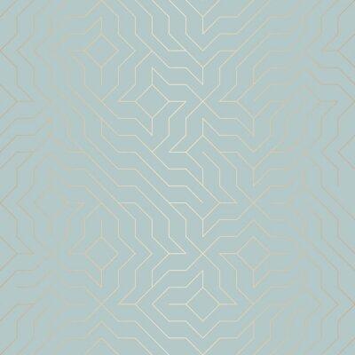 Nálepka Bezešvé vektorové geometrické zlaté čáry. Abstraktní pozadí měděné textury na modré zelené. Jednoduchý minimalistický grafický tisk. Moderní tyrkysová vrata mřížky. Moderní posvátná geometrie