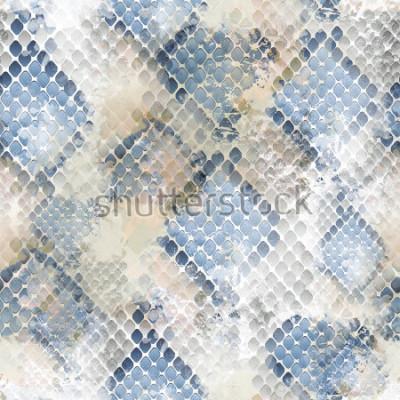 Nálepka Bezešvé vzor divoký design. Hadí kůže pozadí s efektem akvarel. Textilní potisk pro ložní prádlo, sako, obalový design, tkaniny a módní koncepty