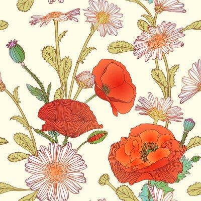 Nálepka Bezešvé vzor - heřmánku a květy máku