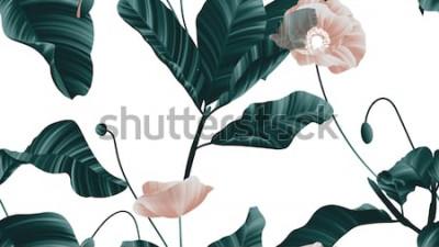 Nálepka Bezešvé vzor, hnědé květy máku se zelenými listy na bílém pozadí