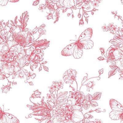 Nálepka Bezešvé vzor květiny a motýli.