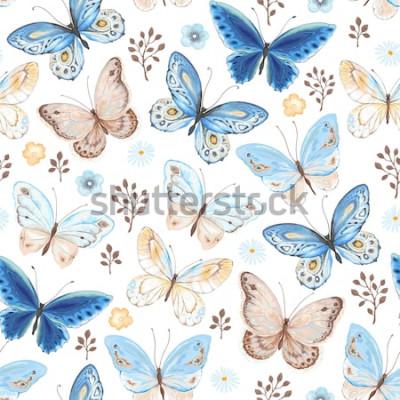 Nálepka Bezešvé vzor létající motýli modré, žluté a hnědé barvy. Vektorové ilustrace v retro stylu na bílém pozadí.
