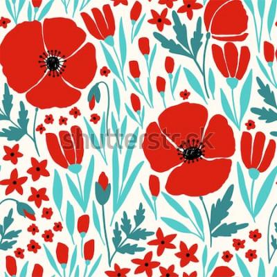 Nálepka Bezešvé vzor s červenými květy máku