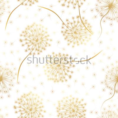 Nálepka Bezešvé vzor s květy Pampeliška. Vektorové ilustrace