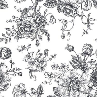 Nálepka Bezešvé vzor s kytici květin.