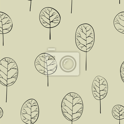 bezešvé vzor s listnatými stromy