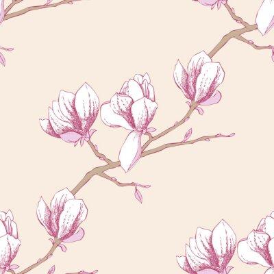 Nálepka Bezešvé vzor s magnolia_3-03
