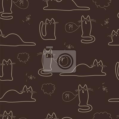 bezešvé vzor s náčrtky koček v barvách kávy