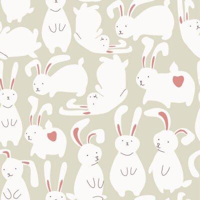 Nálepka Bezešvé vzor s roztomilé bílé králíky