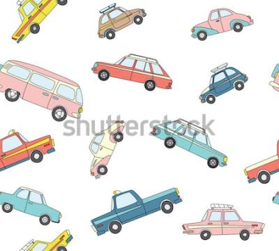 Nálepka Bezešvé vzor s roztomilé retro ručně tažené auta