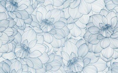 Nálepka Bezešvé vzor s ručně kreslenými dahlia květinami.