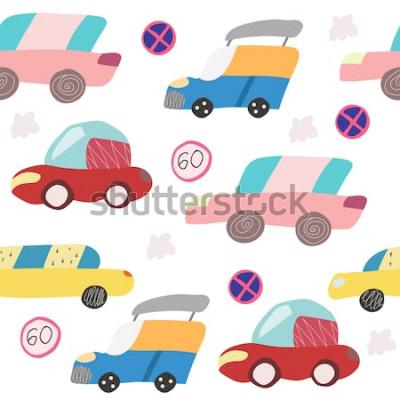Nálepka Bezešvé vzor s ručně tažené auto na silnici. Skandinávský styl pro děti. Kreslený obrázek