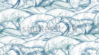Nálepka Bezešvé vzor s ručně tažené mořské vlny v náčrtu stylu. Vektorové nekonečné pozadí v modrých barvách.