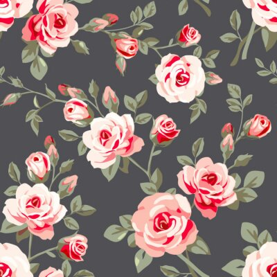 Nálepka Bezešvé vzor s růžovou růží