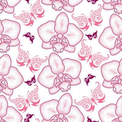 Nálepka Bezešvé vzor s růžovým tečkovanou můra Orchid nebo Phalaenopsis a zdobené motýly na bílém pozadí. Květinové pozadí v dotwork stylu.
