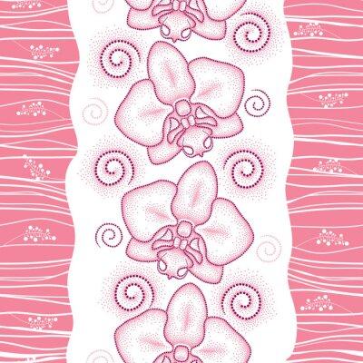 Nálepka Bezešvé vzor s růžovým tečkovanou můra orchideje nebo Phalaenopsis a lokýnky na bílém pozadí. Květinové pozadí v dotwork stylu.