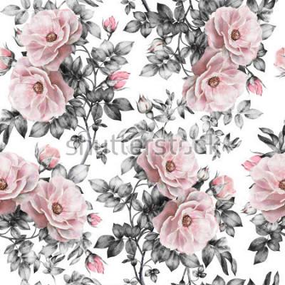 Nálepka Bezešvé vzor s růžovými květy a listy na bílém pozadí, akvarel květinový vzor, květ růže v pastelových barvách, bezešvé květinový vzor pro tapety, karty nebo tkaniny  t