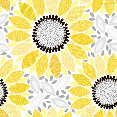 Nálepka Bezešvé vzor s slunečnice. Abstraktní květinové pozadí.