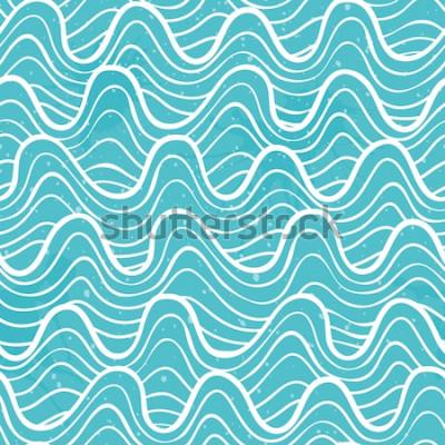 Nálepka Bezešvé vzor s vlnami oceánu v dekorativní styl. Vektorové ilustrace.