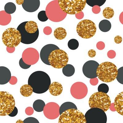 Nálepka Bezešvé vzor se zlatými třpytkami tečkami.