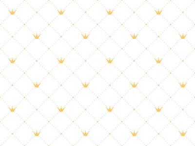 Nálepka Bezešvé vzor v retro stylu se zlatou korunou a růžové polka tečky na bílém pozadí. Roztomilá tapeta pro malé princezny.