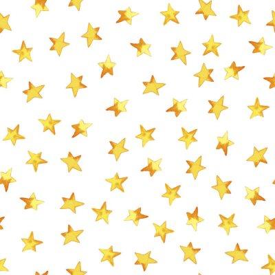 Nálepka Bezešvé vzorek ruky kreslení žluté jednoduché hvězdy v kresleném dětském stylu na bílém pozadí