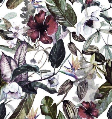 Nálepka Bezešvý akvarel s tropickými květinami, magnólie, oranžová květina, oranžová vanilka, tropické listy, banánové listy