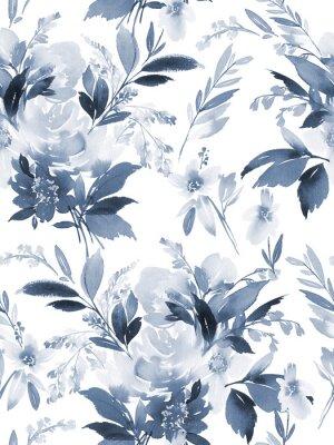 Nálepka Bezešvý letní vzor s ručně vyrobenými květy akvarelů.