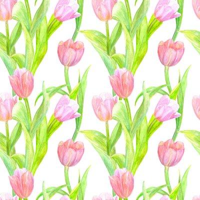 Nálepka bezešvých textur s elegantním tulipány pro návrh. akvarelu